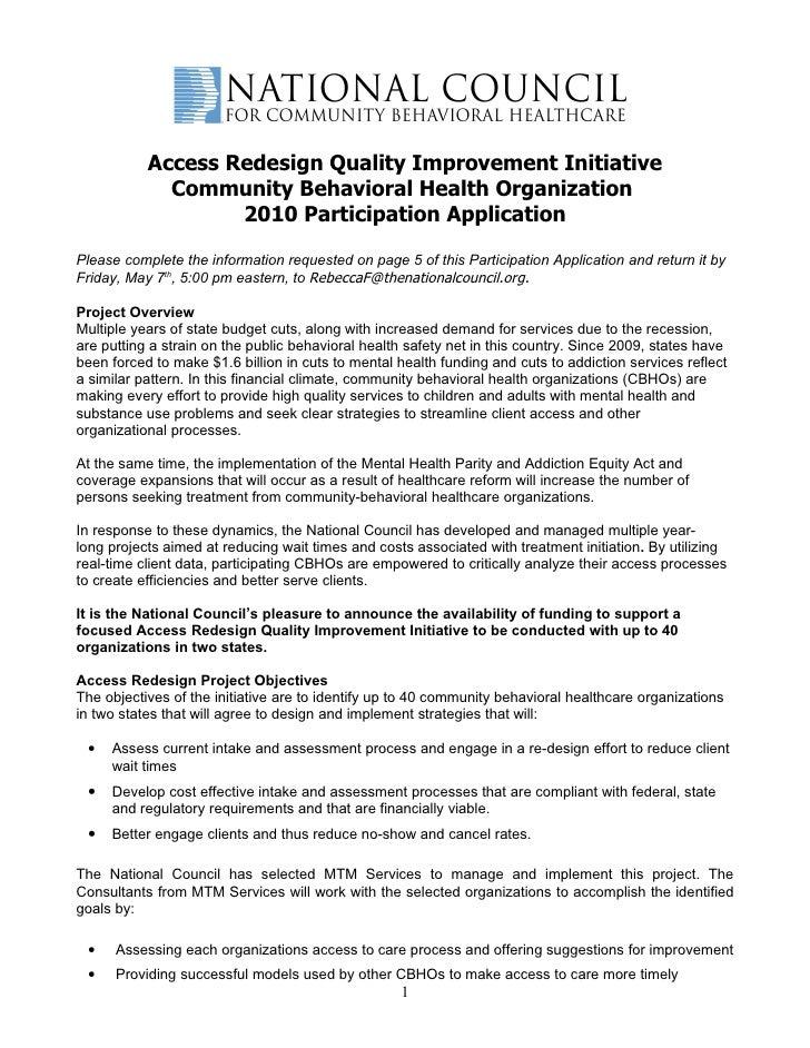 Access Redesign Quality Improvement Initiative              Community Behavioral Health Organization                    20...