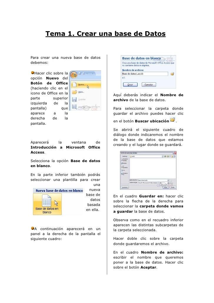 Tema 1. Crear una base de DatosPara crear una nueva base de datosdebemos:  Hacer clic sobre laopción Nuevo delBotón de Off...