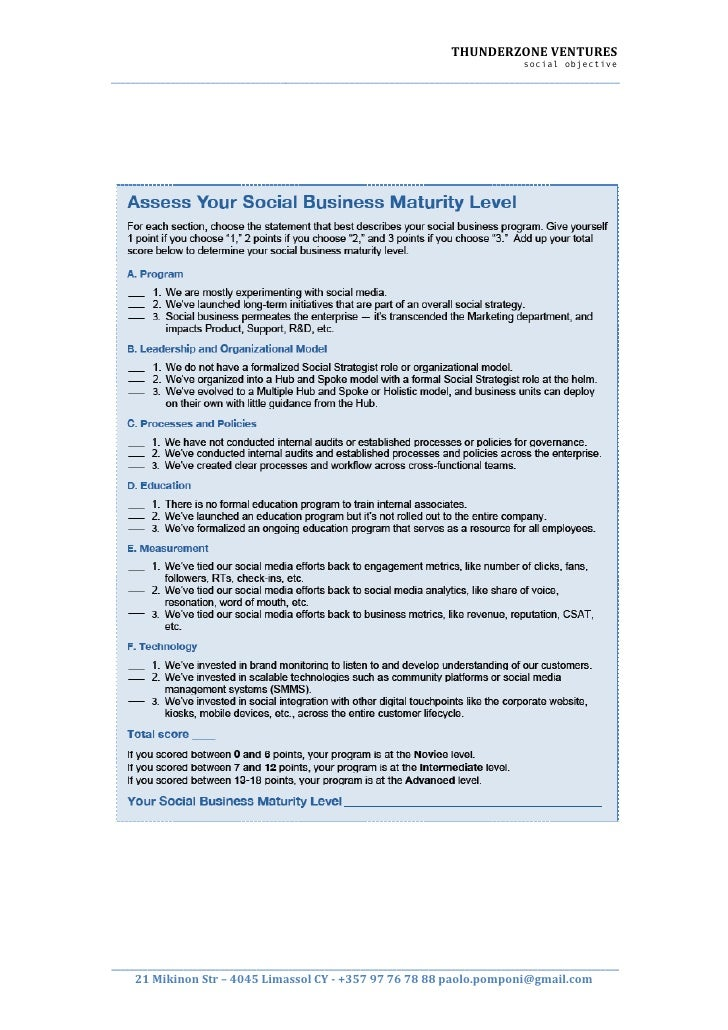 Access your social business maturity level