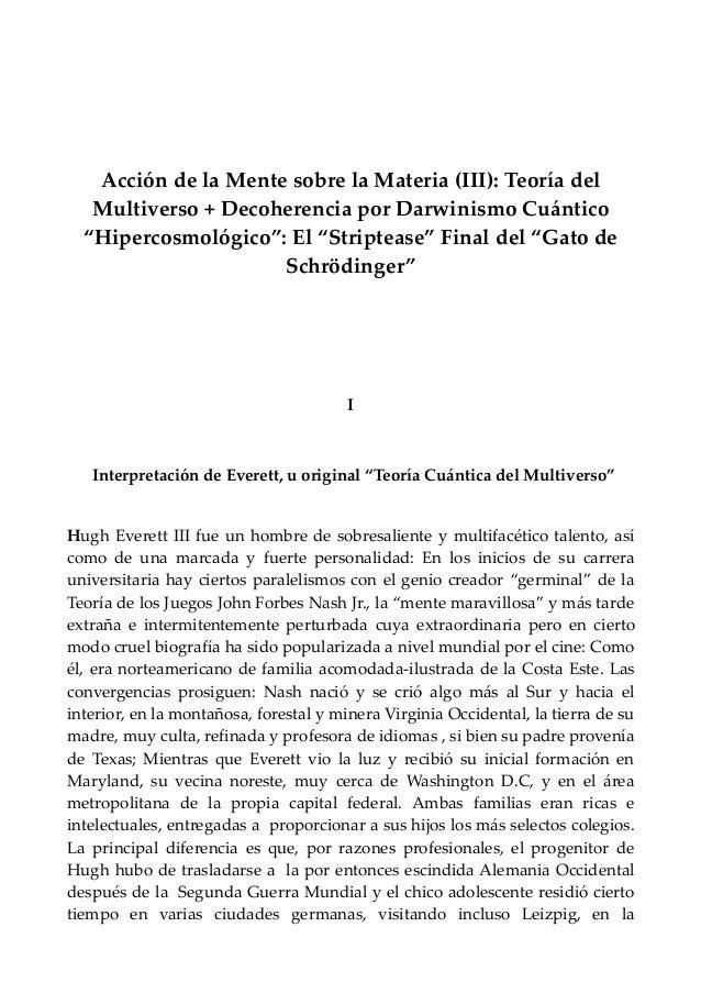 """Acción de la Mente sobre la Materia (III): Teoría del Multiverso + Decoherencia por Darwinismo Cuántico """"Hipercosmológico""""..."""
