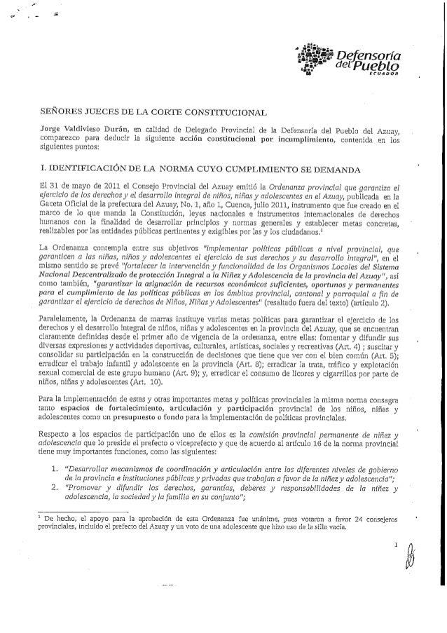 Acción Por Incumplimiento Ordenanza Provincial Azuay