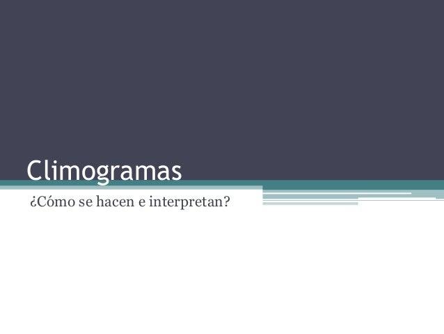 Climogramas ¿Cómo se hacen e interpretan?