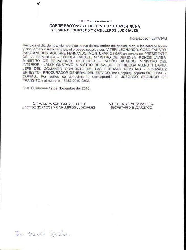 CORTE PROVINCIAL DE JUSTICIA OE PICHINCHA               OFICINA DE SORTEOS Y CASILLEROS JUOICIALES      DR W LSON ANDFADE ...