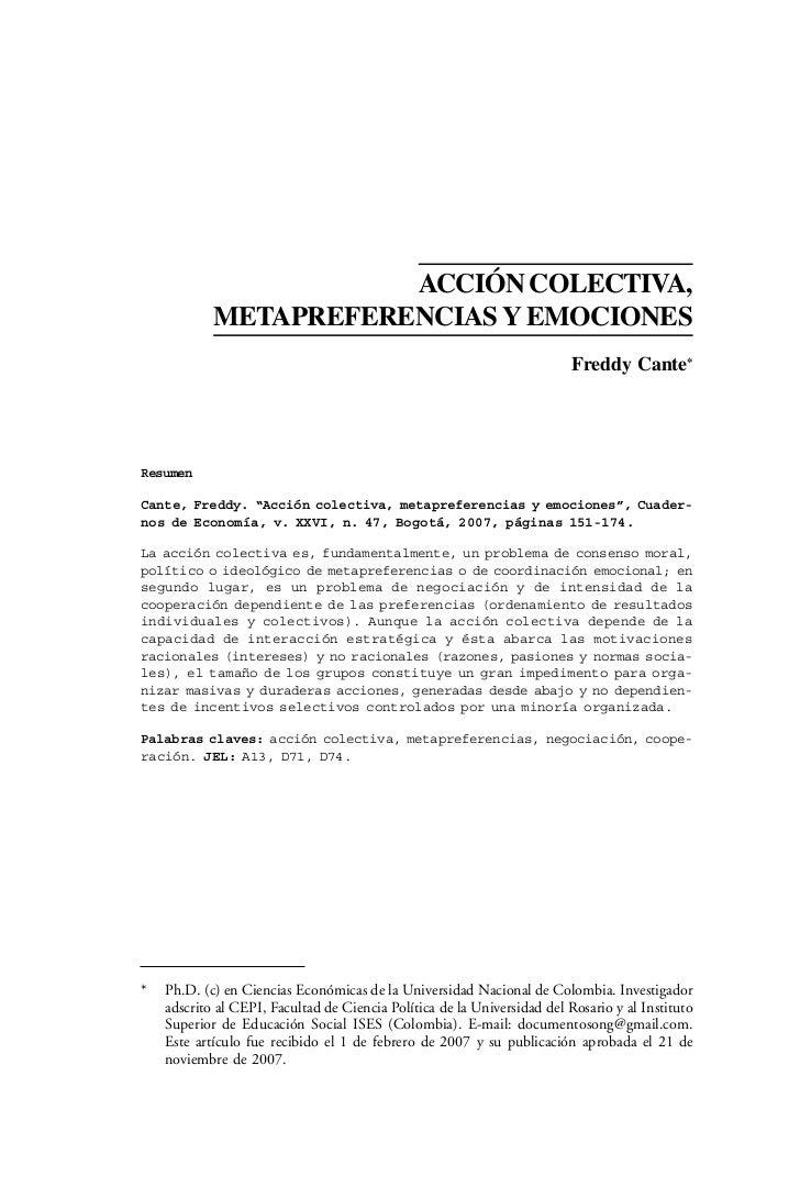 ACCIÓN COLECTIVA,            METAPREFERENCIAS Y EMOCIONES                                                                 ...