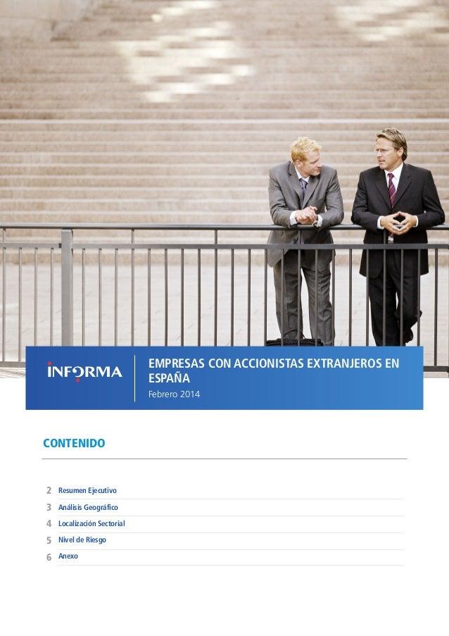 EMPRESAS CON ACCIONISTAS EXTRANJEROS EN ESPAÑA // FEBRERO 2014  EMPRESAS CON ACCIONISTAS EXTRANJEROS EN ESPAÑA Febrero 201...