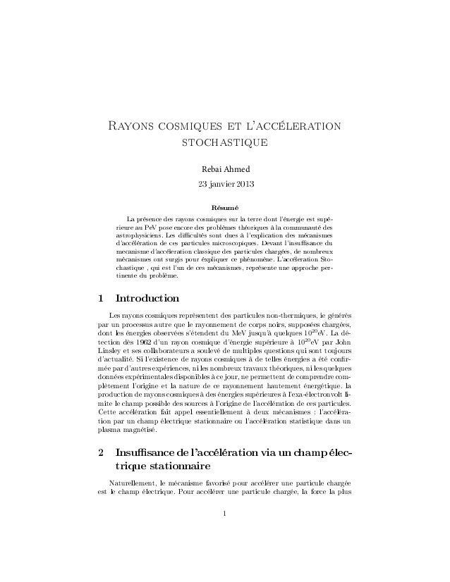 Rayons cosmiques et laccéleration                            stochastique                                   Rebai Ahmed   ...