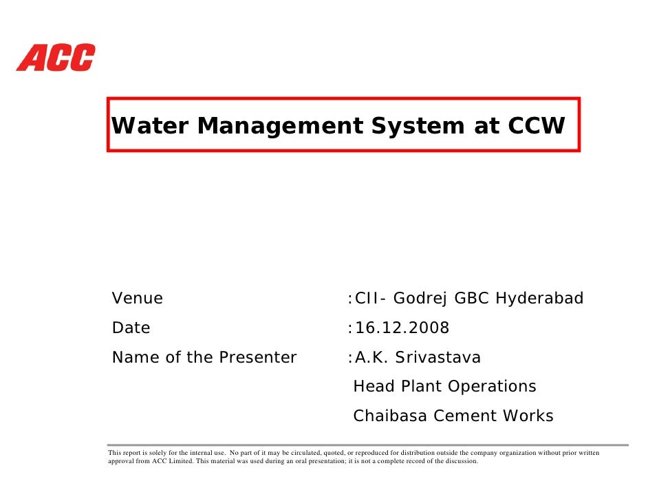 Water Management System at CCW      Venue                                                                            :CII-...