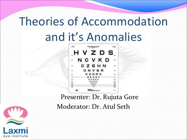 Theories of Accommodation and it's Anomalies Presenter: Dr. Rujuta Gore Moderator: Dr. Atul Seth