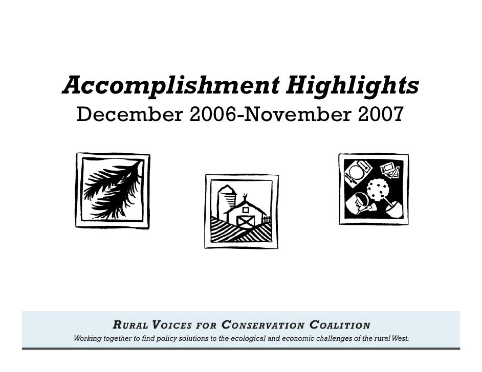 Accomplishment Highlights December 2006-November 2007