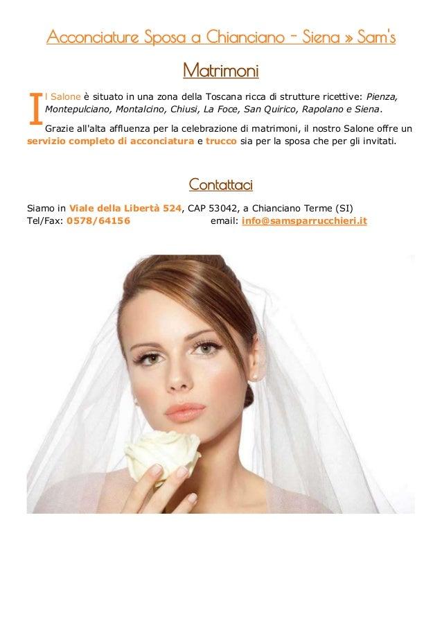 Acconciature Sposa a Chianciano - Siena » Sams                                    MatrimoniI    l Salone è situato in una ...
