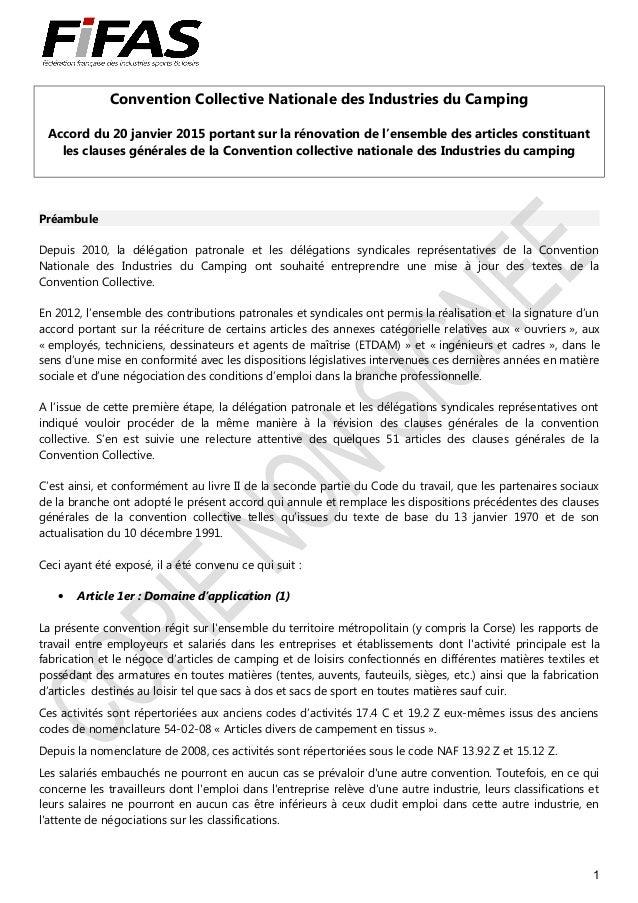Convention Collective Nationale des Industries du Camping Accord du 20 janvier 2015 portant sur la rénovation de l'ensembl...