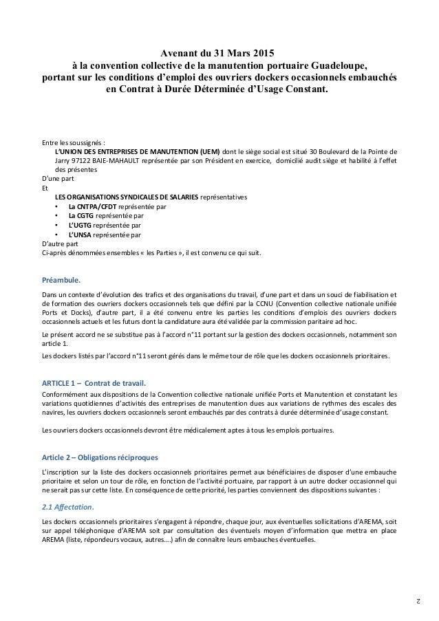 2 Avenant du 31 Mars 2015 à la convention collective de la manutention portuaire Guadeloupe, portant sur les conditions d'...