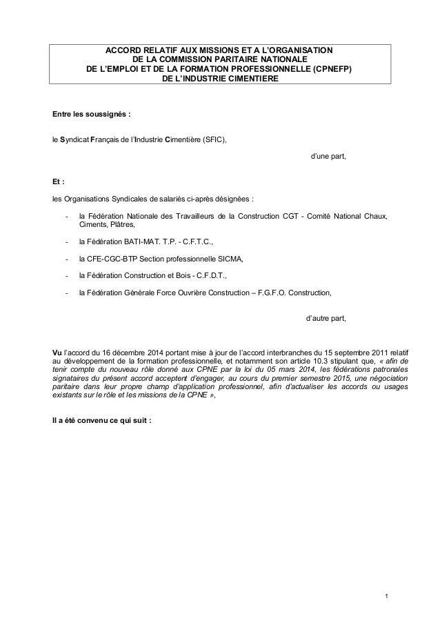 ACCORD RELATIF AUX MISSIONS ET A L'ORGANISATION DE LA COMMISSION PARITAIRE NATIONALE DE L'EMPLOI ET DE LA FORMATION PROFES...