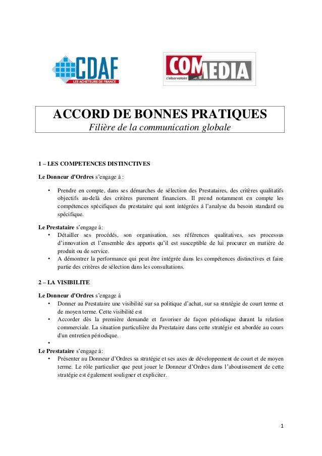1  ACCORD DE BONNES PRATIQUES  Filière de la communication globale  1 – LES COMPETENCES DISTINCTIVES  Le Donneur d'Ordres ...