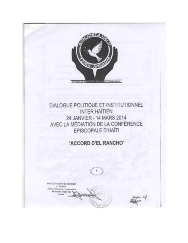 COPIE DE L'ACCORD D'EL RANCHO AVEC LES SIGNATURES