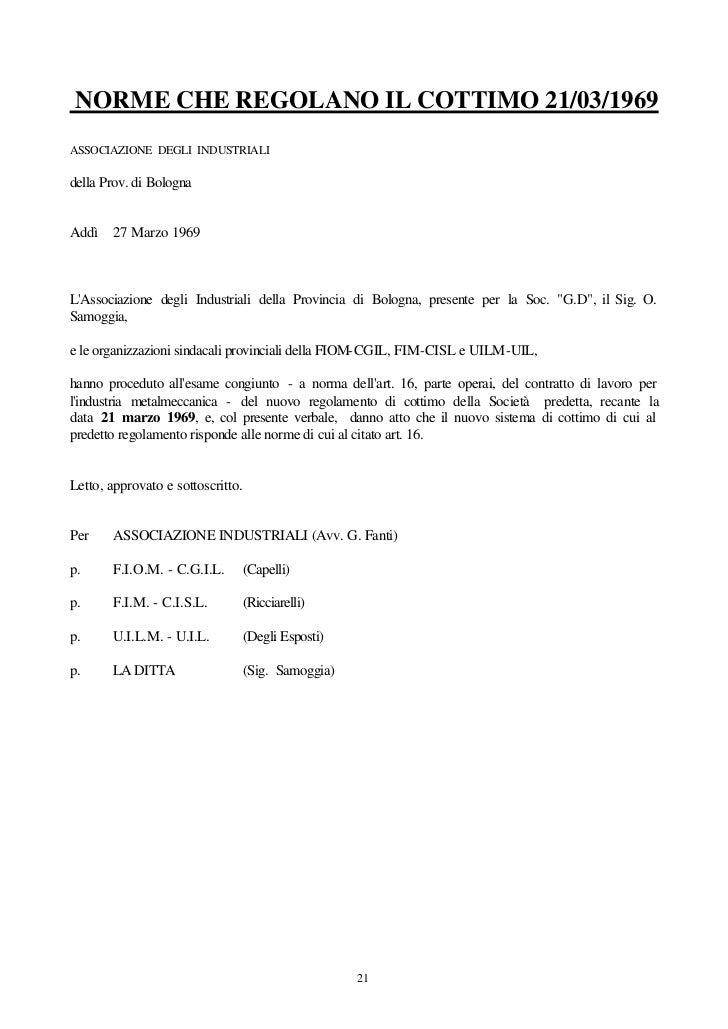 NORME CHE REGOLANO IL COTTIMO 21/03/1969ASSOCIAZIONE DEGLI INDUSTRIALIdella Prov. di BolognaAddì 27 Marzo 1969LAssociazion...