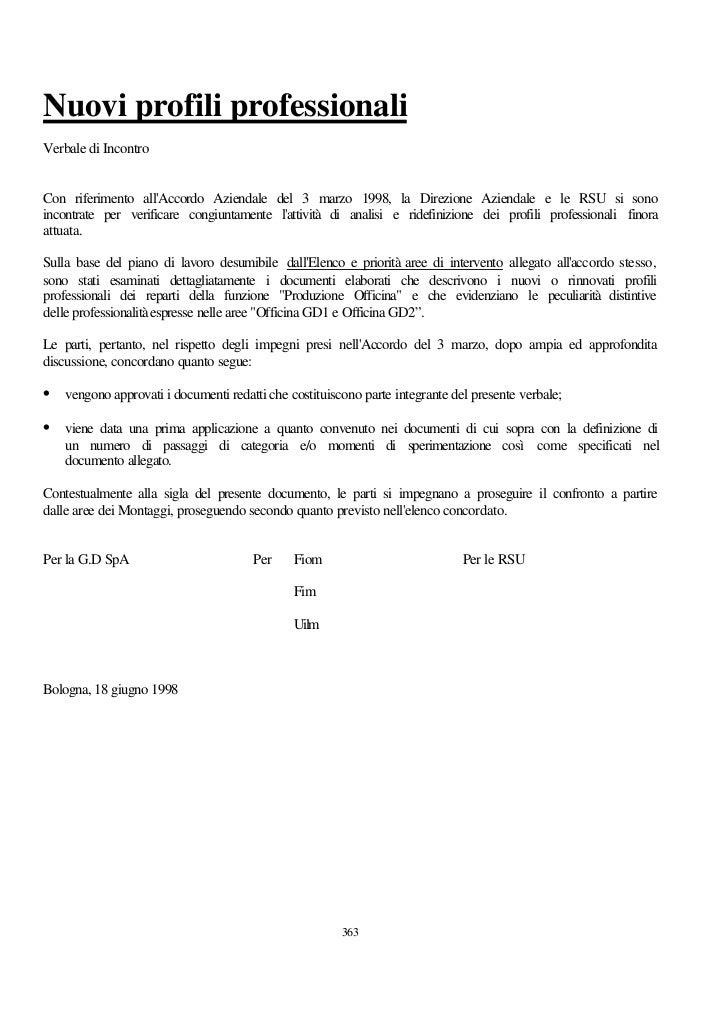 Nuovi profili professionaliVerbale di IncontroCon riferimento allAccordo Aziendale del 3 marzo 1998, la Direzione Aziendal...