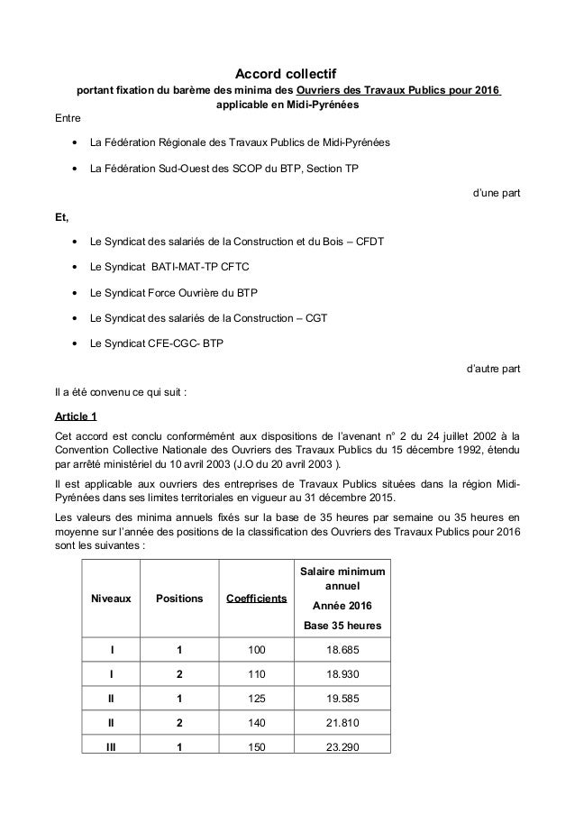 Accord collectif portant fixation du barème des minima des Ouvriers des Travaux Publics pour 2016 applicable en Midi-Pyrén...