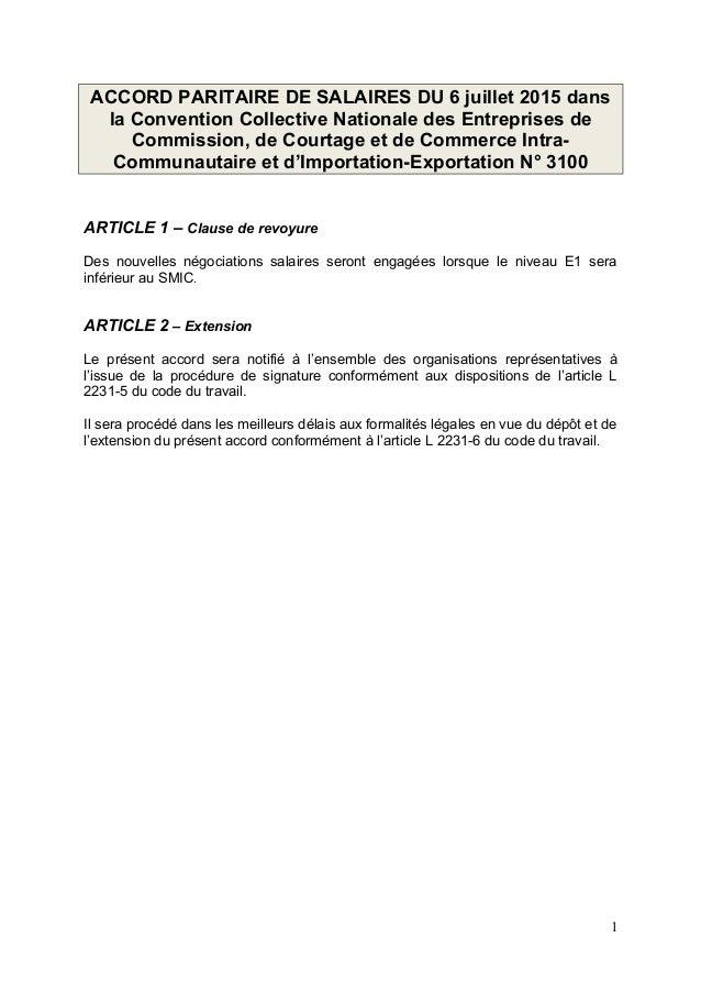 ACCORD PARITAIRE DE SALAIRES DU 6 juillet 2015 dans la Convention Collective Nationale des Entreprises de Commission, de C...