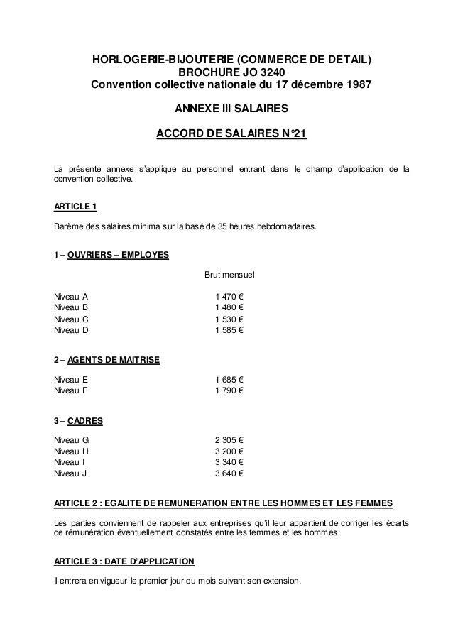 Convention collective gratuite 1487 Horlogerie bijouterie (commerce de détail)