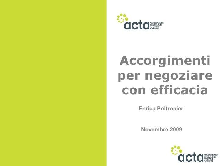 Accorgimenti per negoziare con efficacia