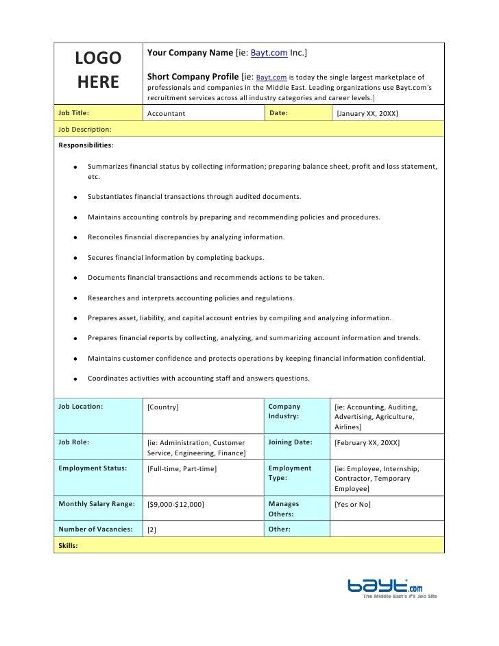accountant job description template by
