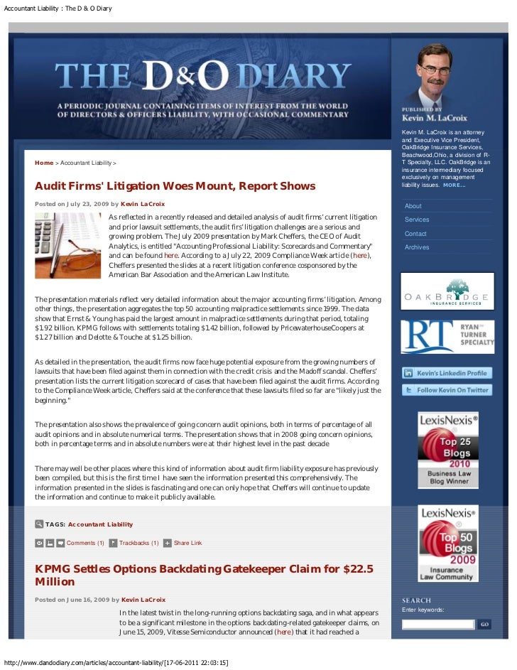 Accountant Liability : The D & O Diary                                                                                    ...
