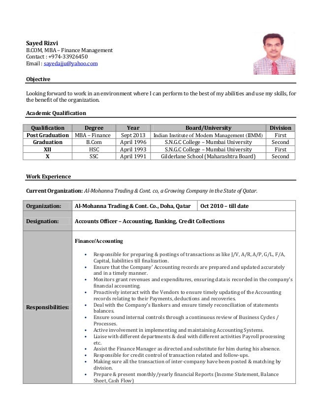 resume for accountants