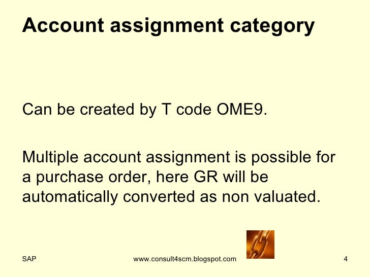 Account assignment category