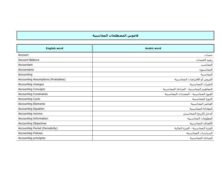 English word   Arabic word  Account Account Balance Accountant Accountants Accounting Accounting Assumptions (Postulates) ...