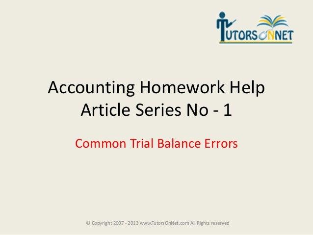 Homework help accounting 1
