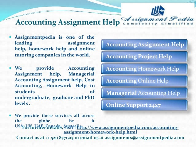 accounting assignment Managerial accounting assignment help is a much needed help by the students of finance and accounting which an be fulfilled instantly with the help of our managerial.