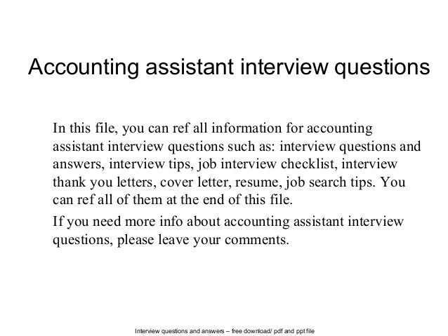 accounting assistant interview questions