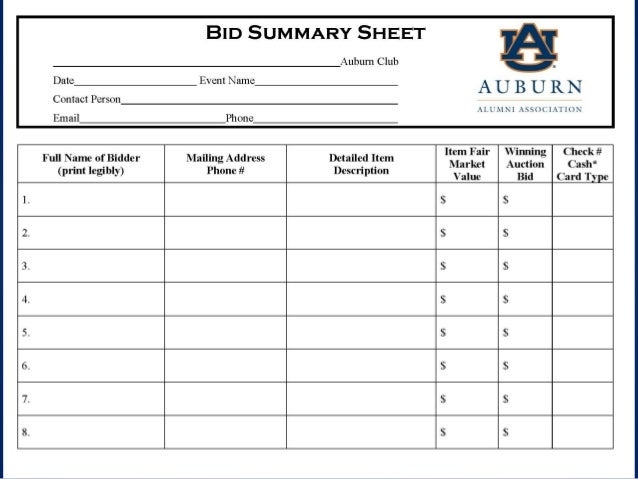 silent auction sign up sheets