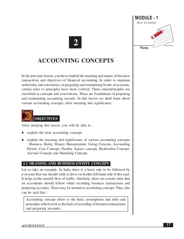 Accounting Concepts                                                               MODULE - 1                              ...