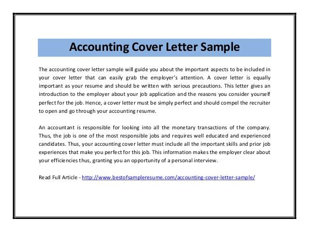 Job Application Letter Sample For Accountant