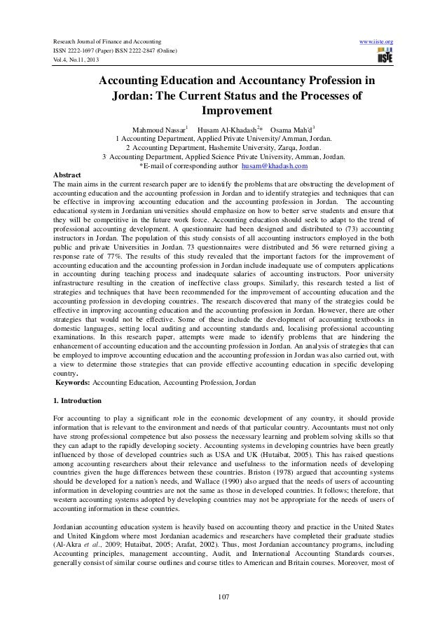 Research paper on accounting education and research