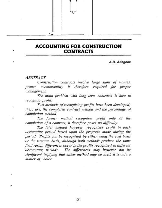 Accounting for construction contracts