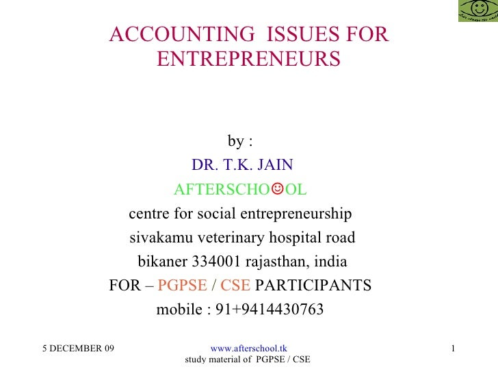 Accounting  issues for entrepreneurs