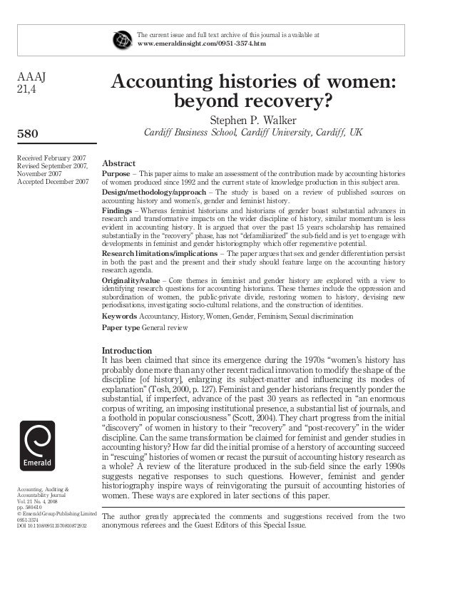 Accounting histories of women: beyond recovery? Stephen P. Walker Cardiff Business School, Cardiff University, Cardiff, UK...