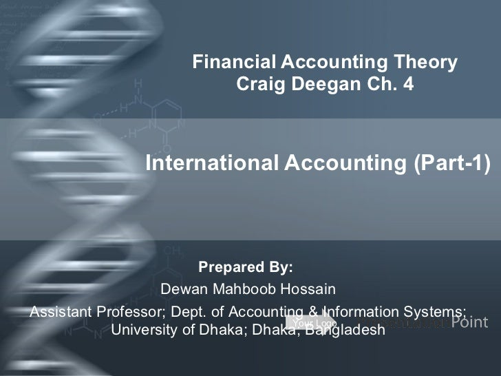 Financial Accounting Theory Craig Deegan Ch. 4 International Accounting (Part-1) Prepared By:  Dewan Mahboob Hossain Assis...