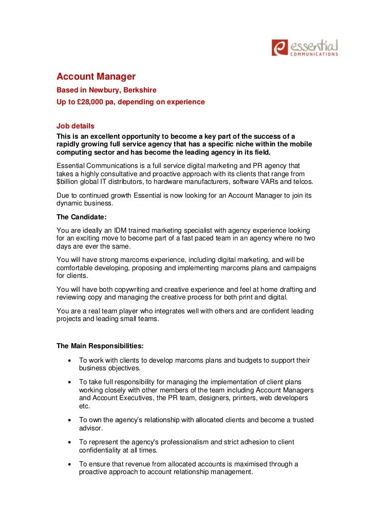 Job Vacancy: Marketing Account Manager