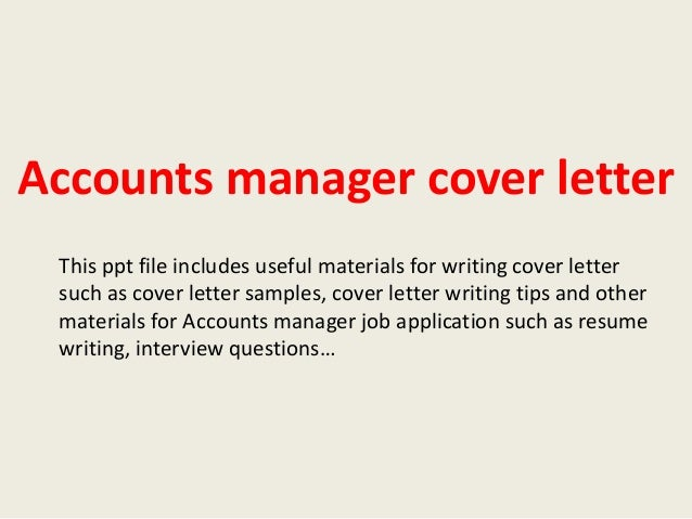 accounts manager cover letter