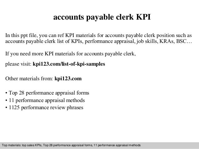 Accounts Payable Clerk Kpi