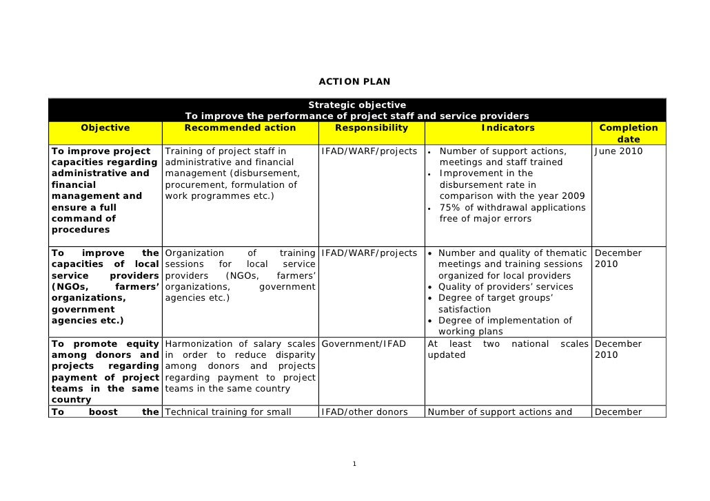 ACTION PLAN                                                   Strategic objective                            To improve th...