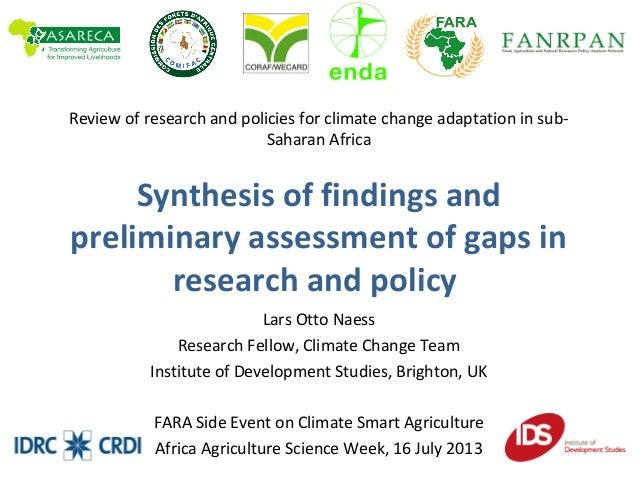 Review of research and policies for climate change adaptation in sub- Saharan Africa Synthesis of findings and preliminary...