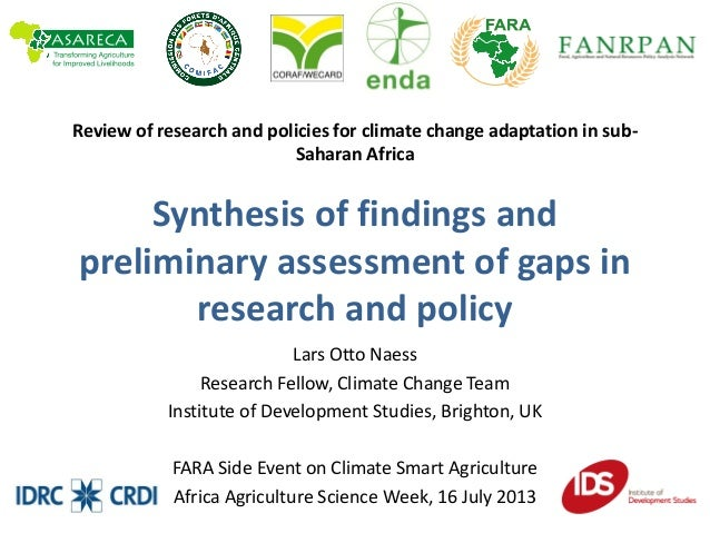 Review of research and policies for climate change adaptation in sub-Saharan Africa - Synthesis of findings and preliminary assessment of gaps in research and policy