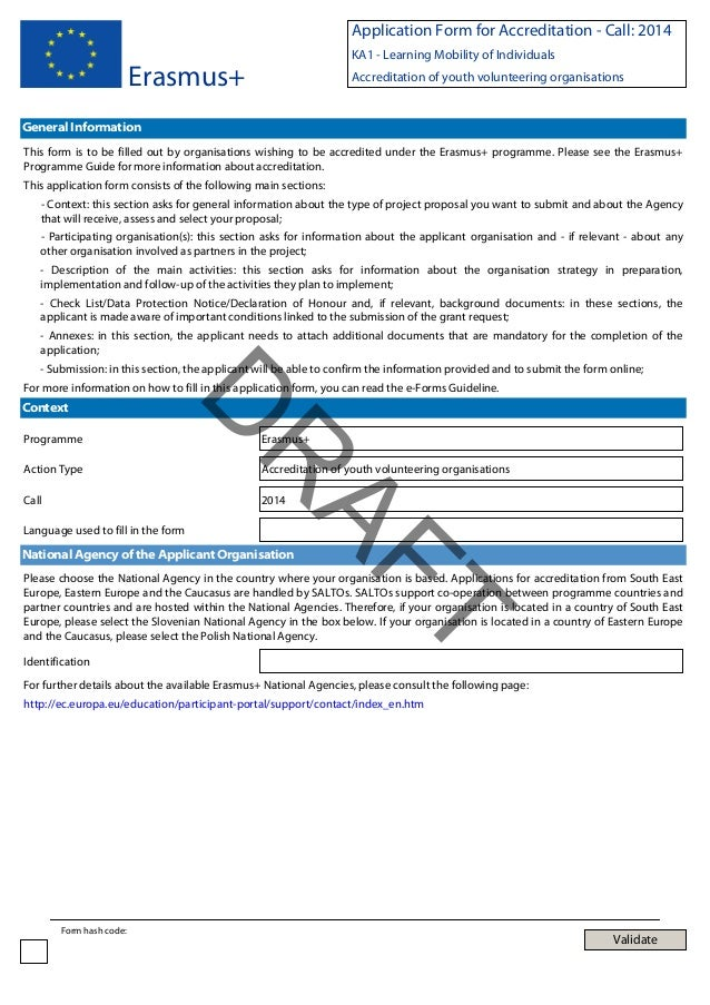 Application Form for Accreditation - Call: 2014 KA1 - Learning Mobility of Individuals  Erasmus+  Accreditation of youth v...