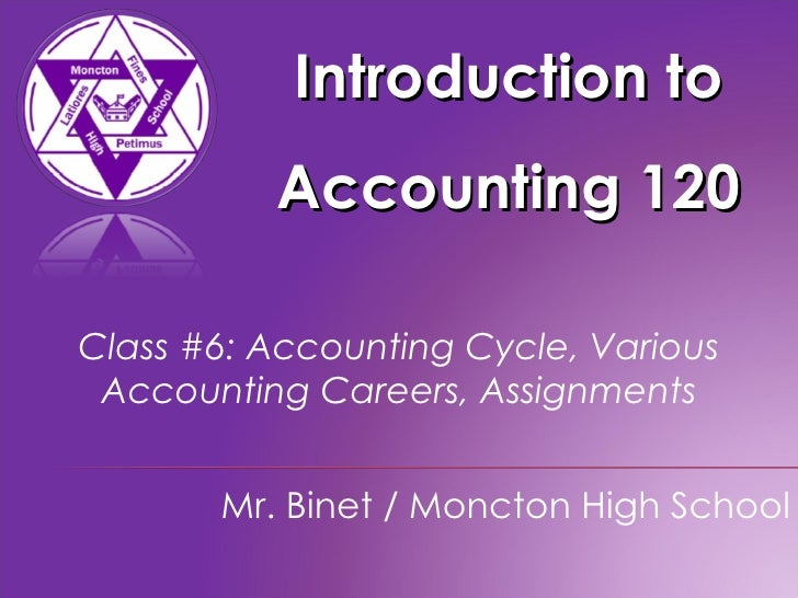 Introduction to Accounting 120 Mr. Binet / Moncton High School Class #6: Accounting Cycle, Various Accounting Careers, Ass...