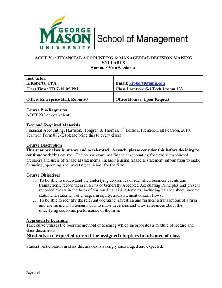 ACCT 301: FINANCIAL ACCOUNTING & MANAGERIAL DECISION MAKING                                SYLLABUS                       ...